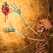 skeleton reaching for heart