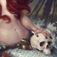 mermaid holding skull